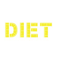 Diet word with yellow measuring tape vector image vector image