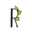 doodling eco alphabet letter rtype with leaves vector image