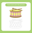 drum and sticks toy with simple shapes trace and vector image vector image