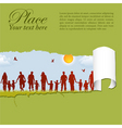 family silhouettes through a hole in a paper vector image vector image