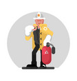 fireman standing with fire extinguisher vector image vector image