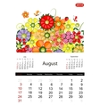 Floral calendar 2014 august vector image vector image