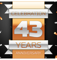 Forty three years anniversary celebration golden vector image vector image