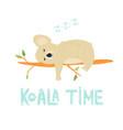 funny cute koala sleeping on a tree vector image