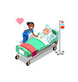 funny nurse and female elderly patient in bed vector image