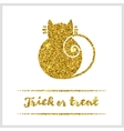 Halloween gold textured cat icon vector image vector image