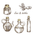 hand drawn jars and bottles vector image