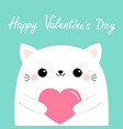 happy valentines day white cat kitten head face vector image