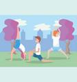 man and women training yoga balance position vector image vector image