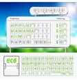Mechanical scoreboard green alphabet with numbers vector image vector image