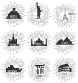 Of World Famous Travel Badges vector image vector image