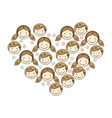 people together inside the heart icon vector image vector image