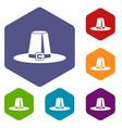 pilgrim hat icons set vector image vector image