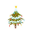 pine tree with toys and candy canes golden star vector image