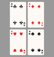 Playing cards four vector image