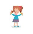 pretty girl holding two ice creams cartoon vector image vector image