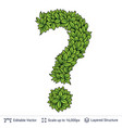 question sign of green leaves vector image