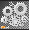 realistic white gears on transparent background vector image vector image