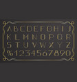 retro gold thin retro font on black background vector image