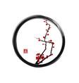 sakura cherry tree blossom in enso zen circle vector image vector image