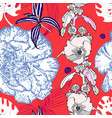 seamless flower pattern realistic floral sketch vector image vector image