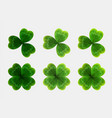 Set of green leaves of clover realistic