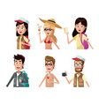 set of young people cartoons vector image vector image