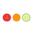 set vegetables slices traffic light vector image vector image