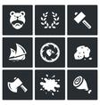 set viking life icons barbarian laurel vector image vector image