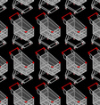 Shopping cart seamless pattern Supermarket vector image vector image