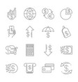 simple line web icons set - money finance vector image