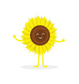 sunflower cartoon character isolated on white vector image
