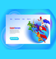 super heroes isometric web page vector image vector image