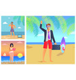 three summer time posters vector image vector image