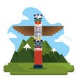 totem culture canadian scene vector image vector image