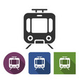 tram icon in different variants with long shadow vector image