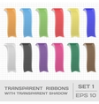 Transparent Ribbons Set 1 Tags Bookmarks vector image vector image