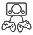 two gamepads line icon video gaming vector image