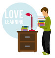 young man holding books vector image vector image