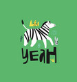 zebra flat hand drawn character vector image