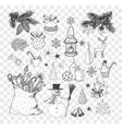 set of hand-drawn sketchy christmas elements vector image