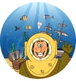 Diver with treasure chest vector image