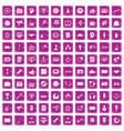 100 media icons set grunge pink vector image vector image