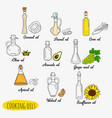 9 isolated doodle cooking oils vector image
