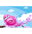 A pink monster resting at a branch of a tree vector image vector image
