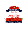 anzac day lest we forget red poppy ribbons vector image vector image