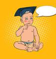 baby boy in bachelor cap pop art vector image