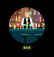 bartender with luxury alcohol interior bar vector image
