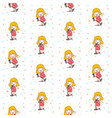 blonde cute girl sing with red dress seamless vector image vector image