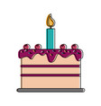 cake with candle birthday pastry icon image vector image vector image